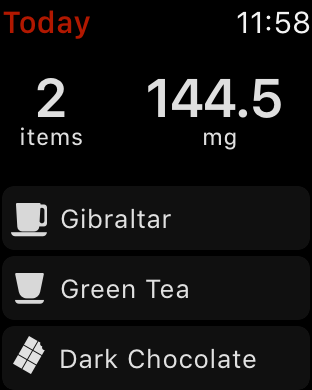 RECaf Apple Watch screenshot